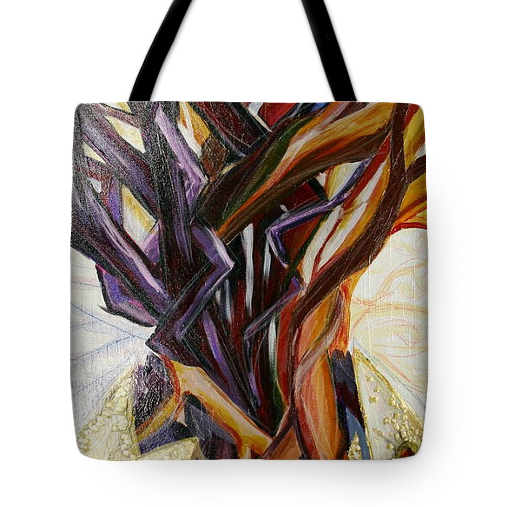Apple Tote Bag featuring the painting Fifth World Three by Kate Fortin