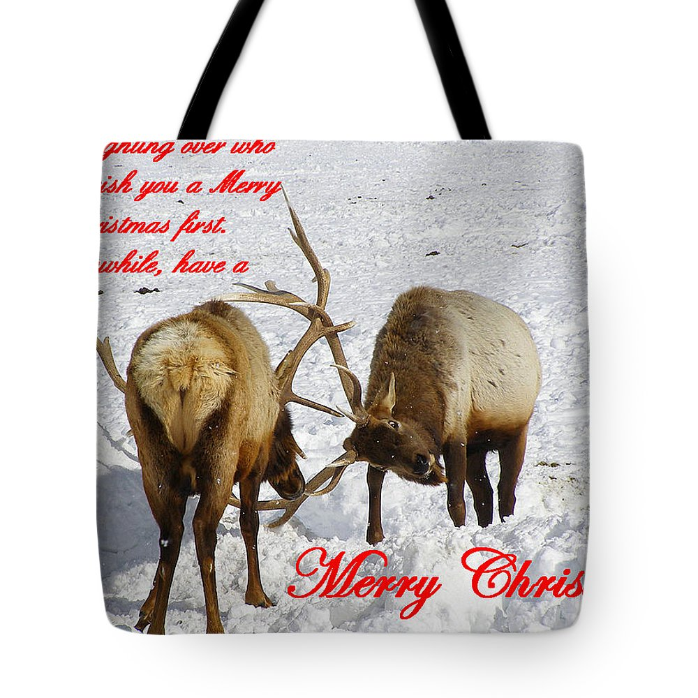 Christmas Cards Tote Bag featuring the photograph Fighting Over Wishing You A Merry Christmas by DeeLon Merritt