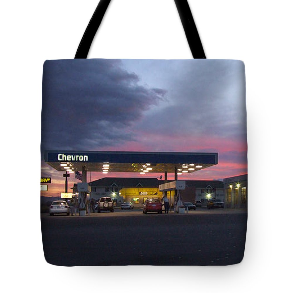 Gas Station Tote Bag featuring the photograph Filler Up by Mike McGlothlen