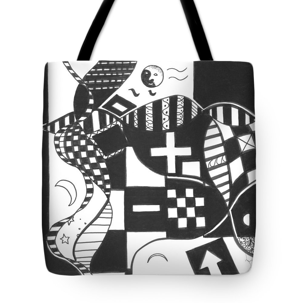 Abstract Tote Bag featuring the drawing Finding The One Big Plus by Helena Tiainen