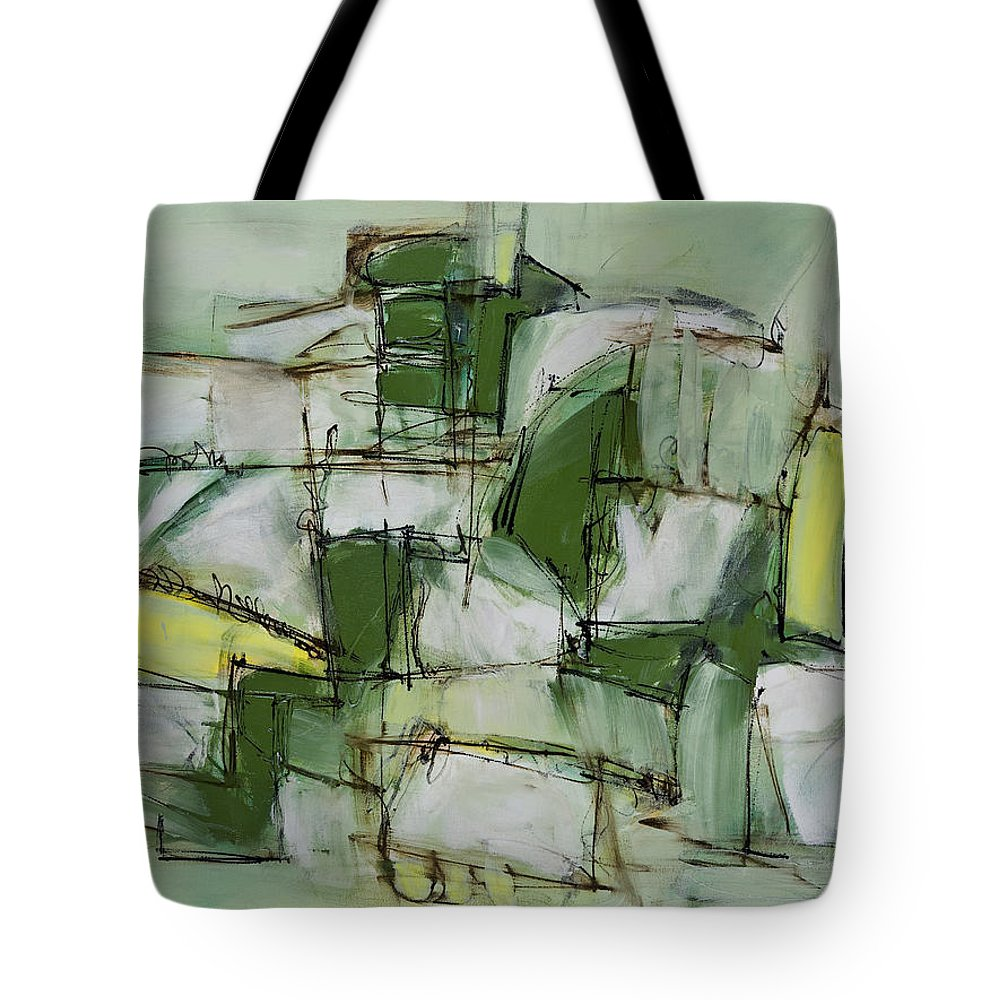 Abstract Tote Bag featuring the painting Finding Your Place by Lynne Taetzsch