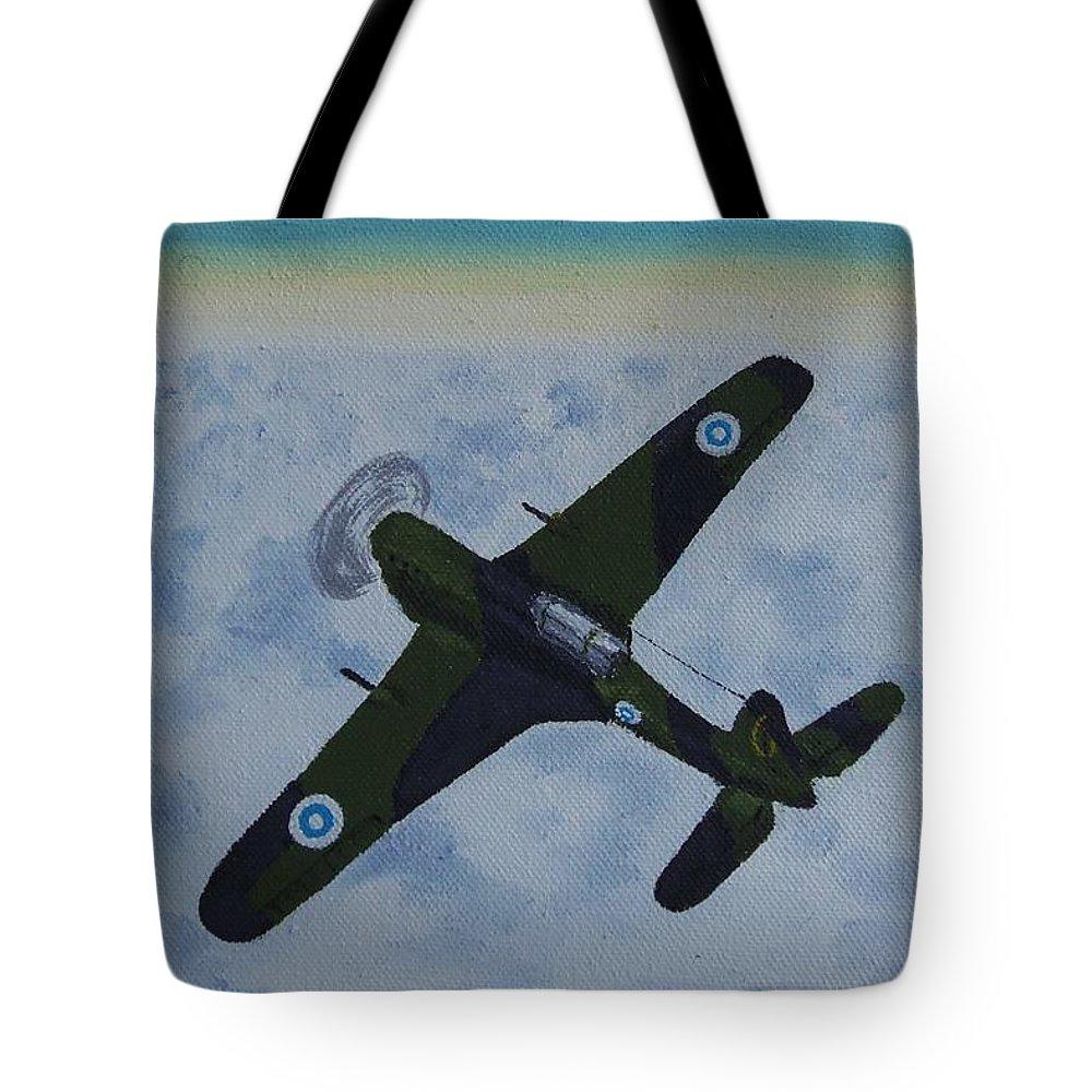 Morane-saulnier Tote Bag featuring the painting Finnish Morane-saulnier 406 In 1946 by Glenn Harden