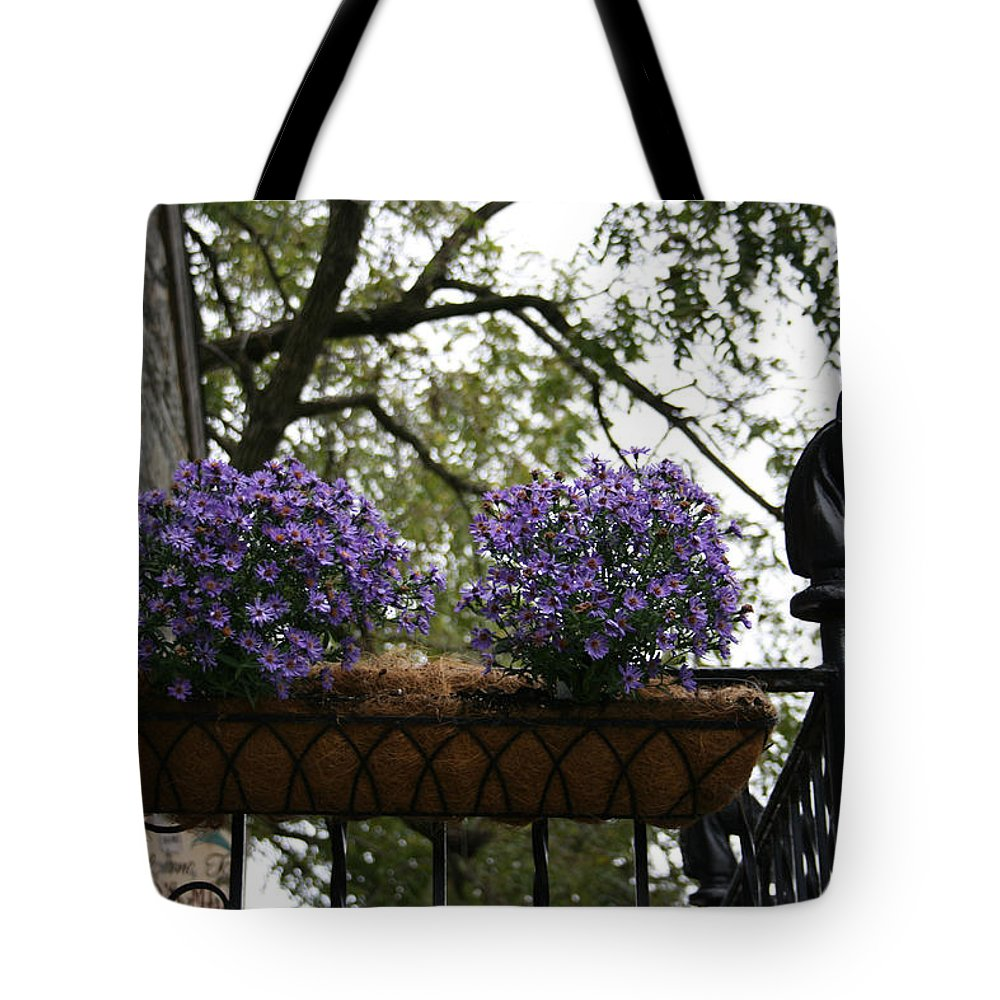 Velvet Flowers Tote Bag featuring the photograph Fiori Viola by Tila Gun