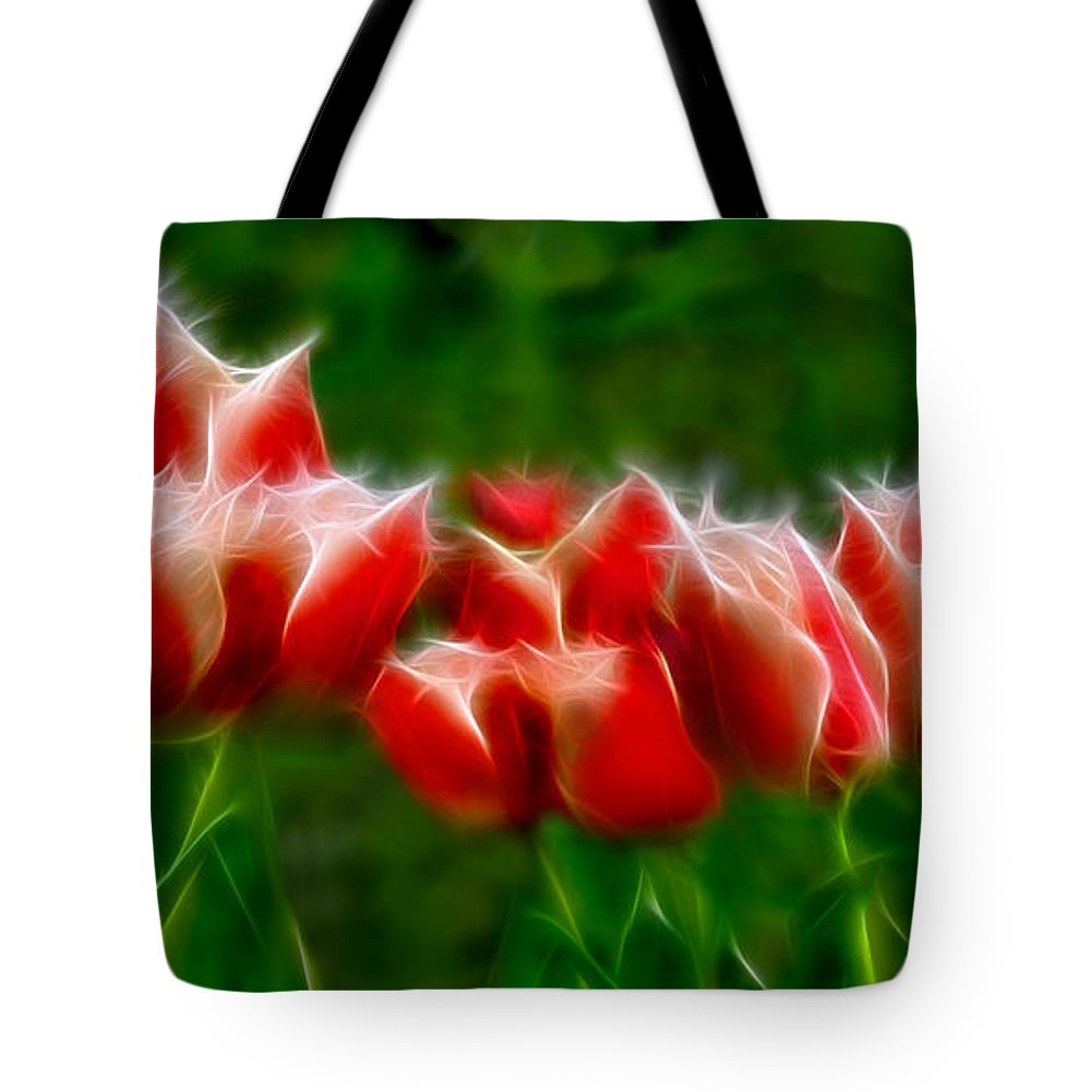 Fire And Ice Tote Bag featuring the digital art Fire And Ice Fractal by Peter Piatt