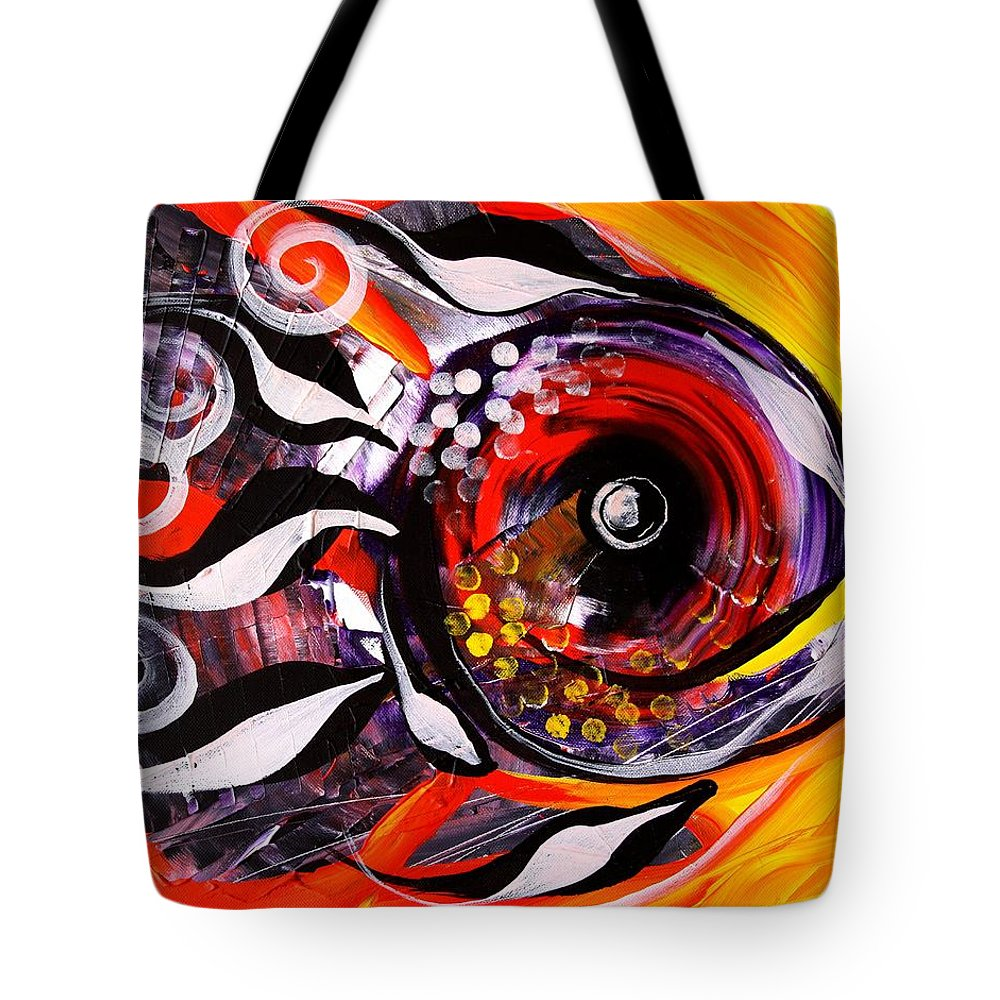 Fish Tote Bag featuring the painting Fire Fish Four And A Half by J Vincent Scarpace
