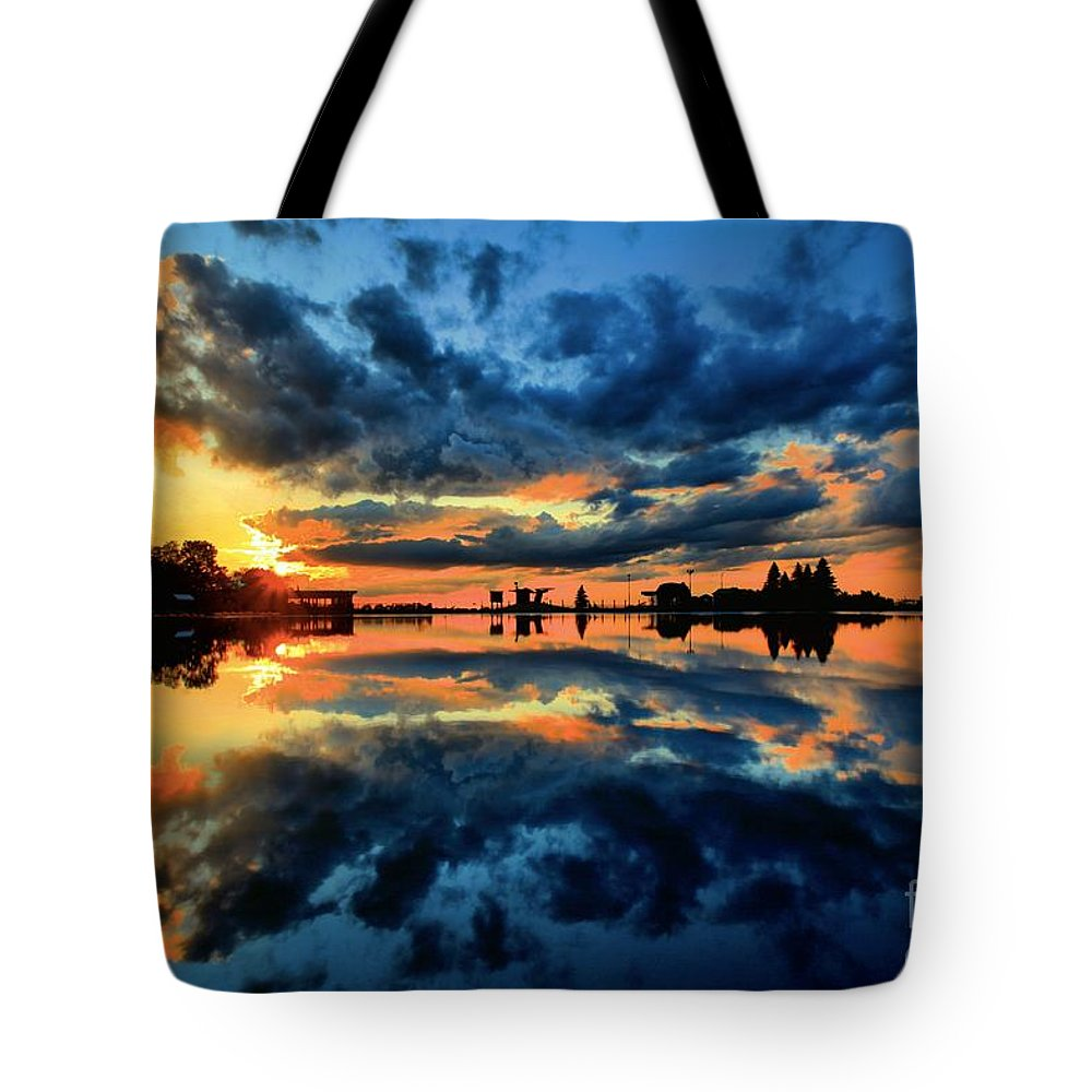 Sunrise Photos Tote Bag featuring the photograph Fire Over Seven Springs by Adam Jewell
