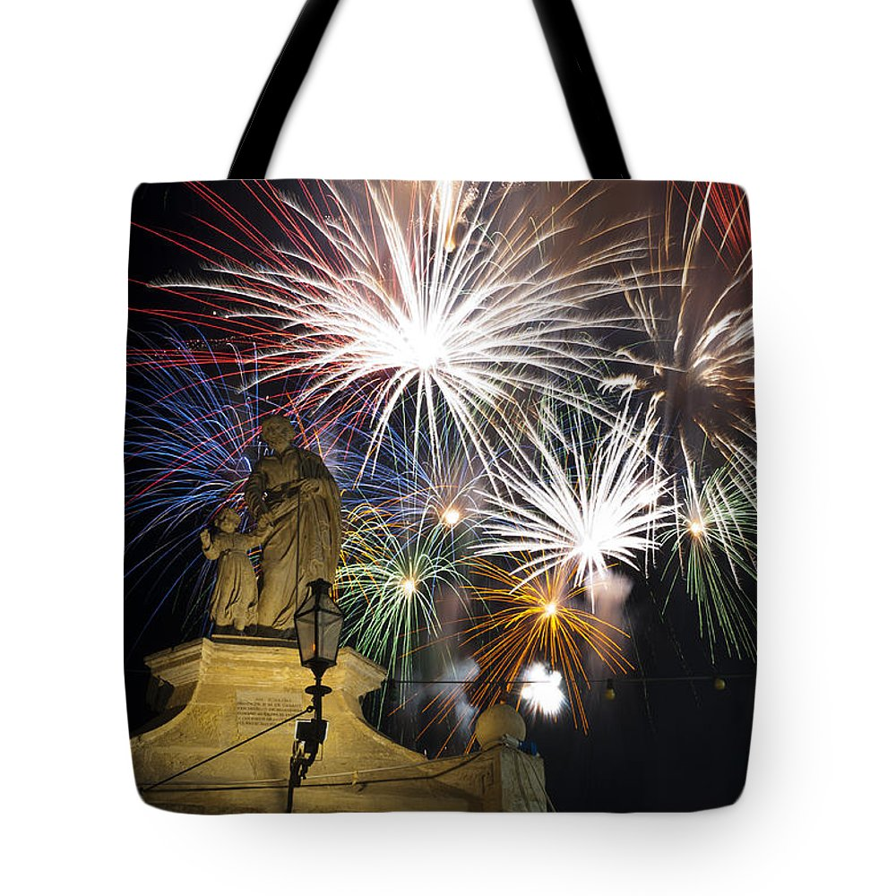 Fireworks Tote Bag featuring the photograph Fire Saints by Focus Fotos