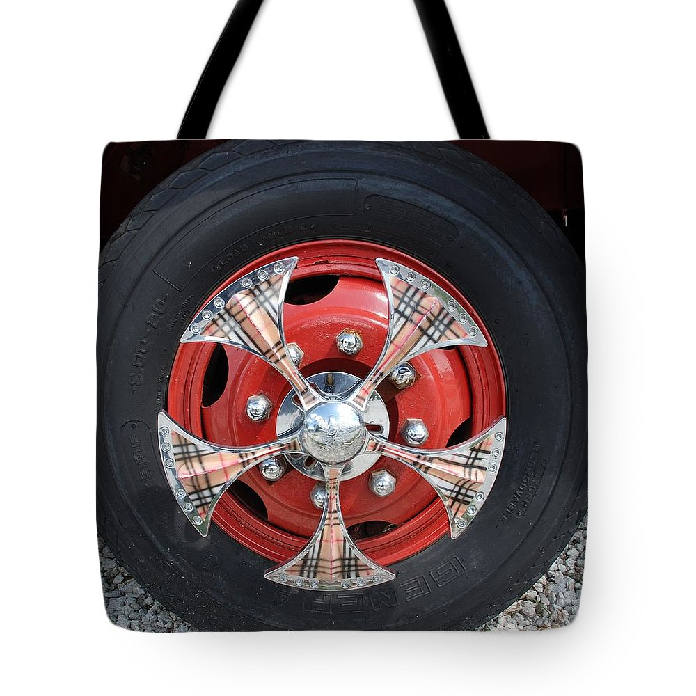 Tires Tote Bag featuring the photograph Fire Truck Spinners by Rob Hans