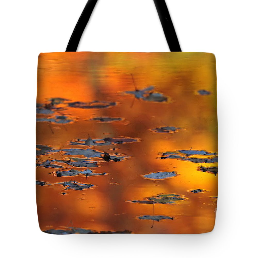 Maple Leaves Tote Bag featuring the photograph Fire Water by Andrea Kollo
