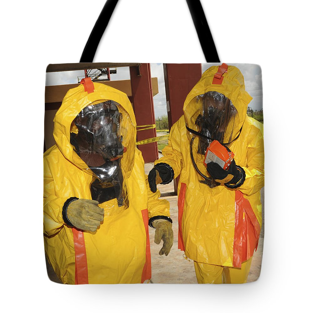 Firefighters Dressed In Hazmat Suits Tote Bag For Sale By Stocktrek Images
