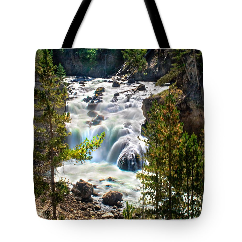 Scenic Tote Bag featuring the photograph Firehole River Falls by Robert Bales