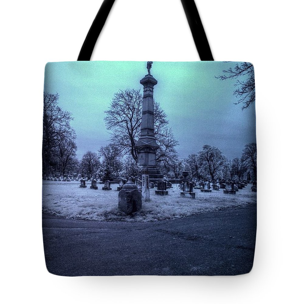 Fireman Tote Bag featuring the photograph Firemans Monument Infrared by Joshua House