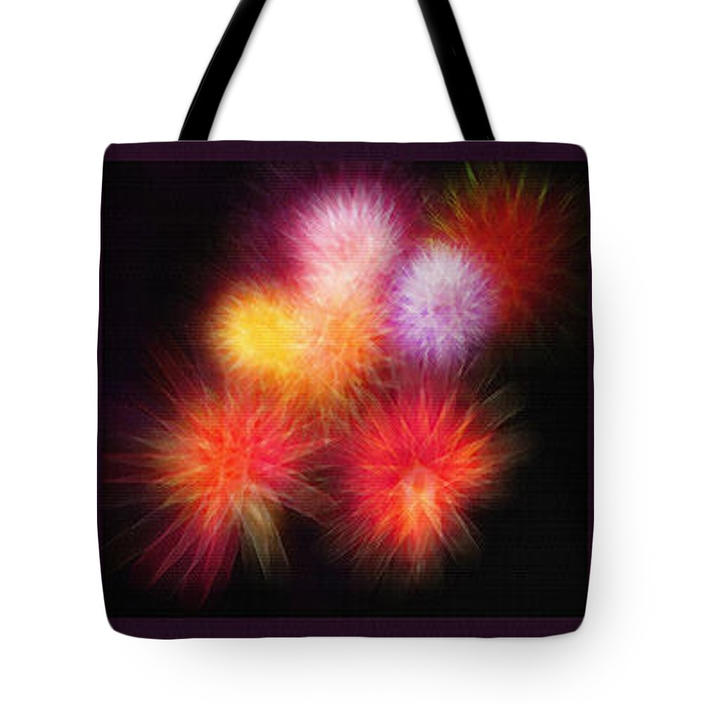 Fireworks Tote Bag featuring the photograph Fireworks Triptych by Steve Ohlsen