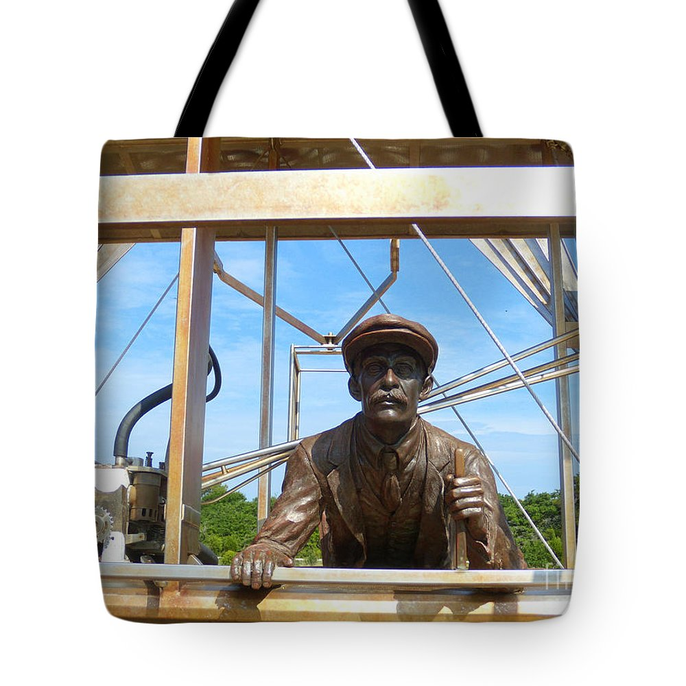 Historical Tote Bag featuring the photograph First In Flight by Lydia Holly