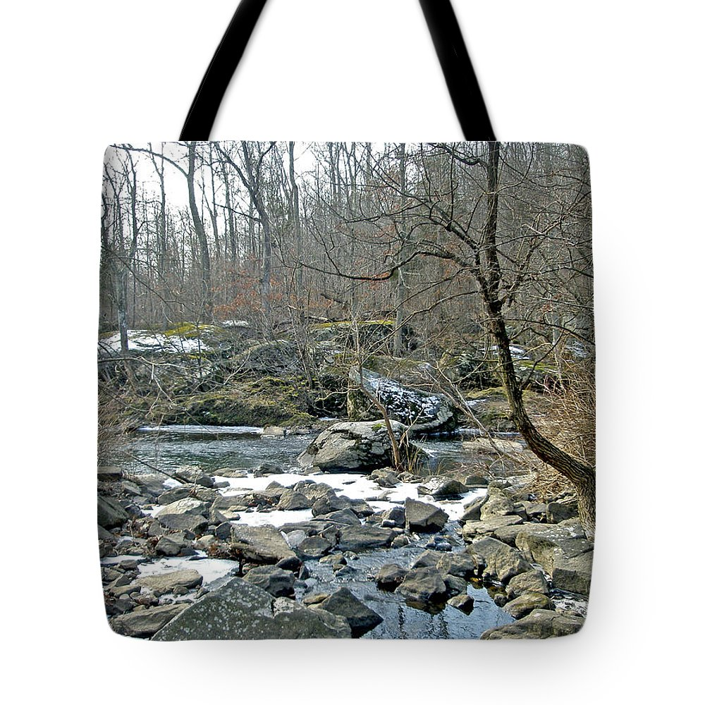 Creek Tote Bag featuring the photograph First Kiss Of Winter by Mother Nature