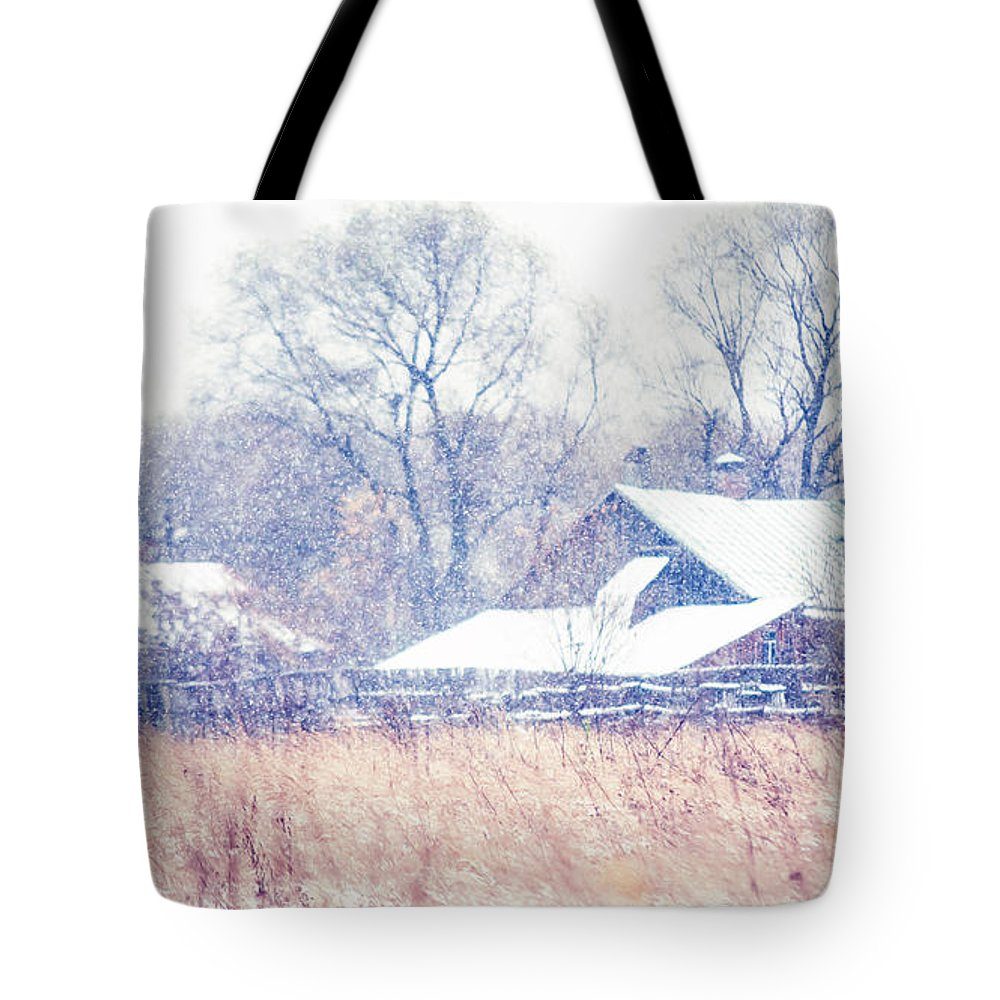 Snow Tote Bag featuring the photograph First Snow. Village by Jenny Rainbow