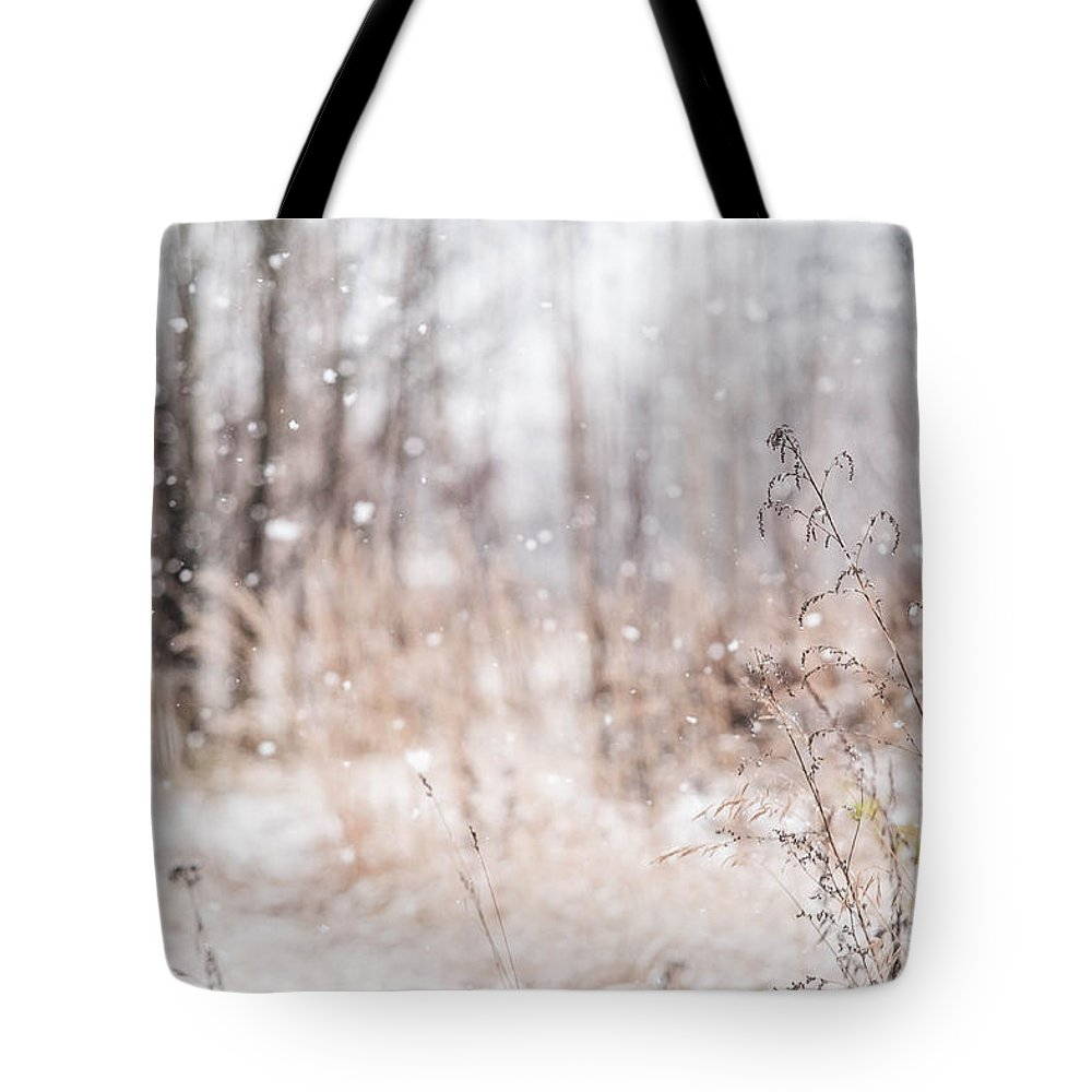Snow Tote Bag featuring the photograph First Snow. Winter Mood by Jenny Rainbow