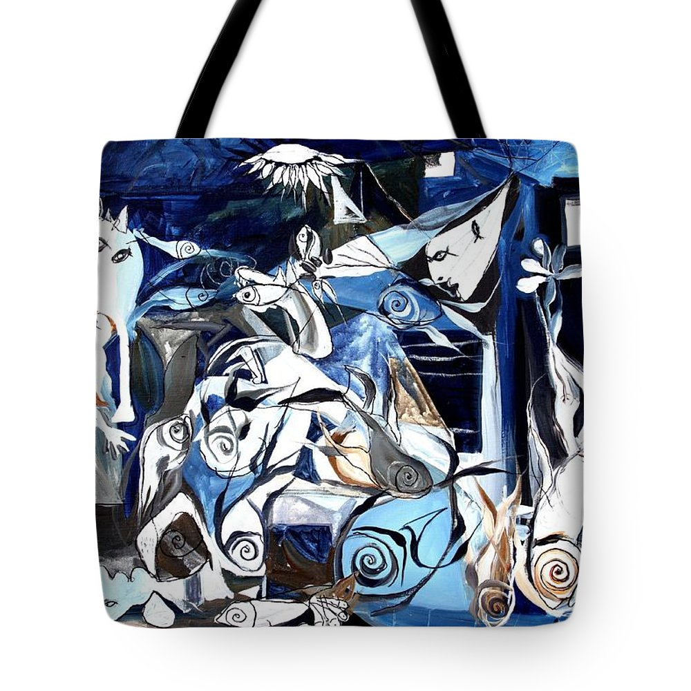 Fish Tote Bag featuring the painting Fish Guernica by J Vincent Scarpace