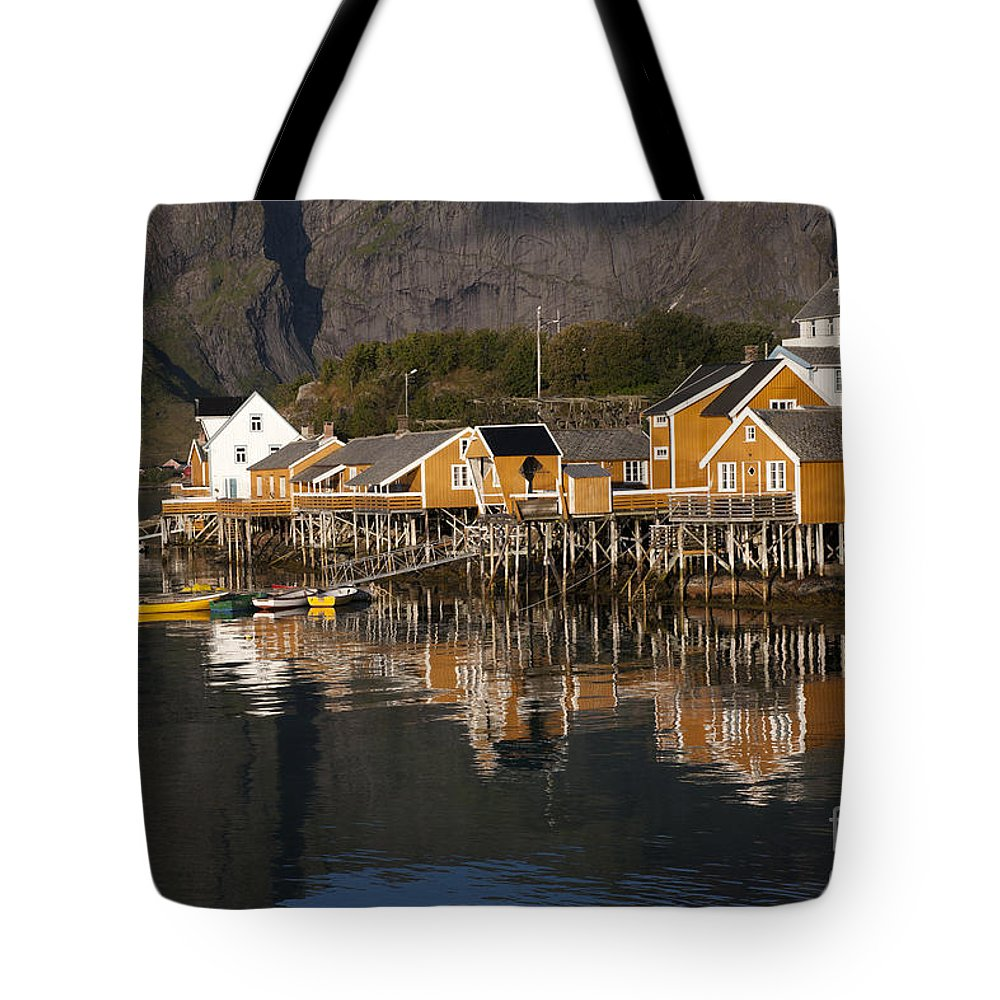 Norway Tote Bag featuring the photograph Fishermen's Village Sakrisoy by Heiko Koehrer-Wagner