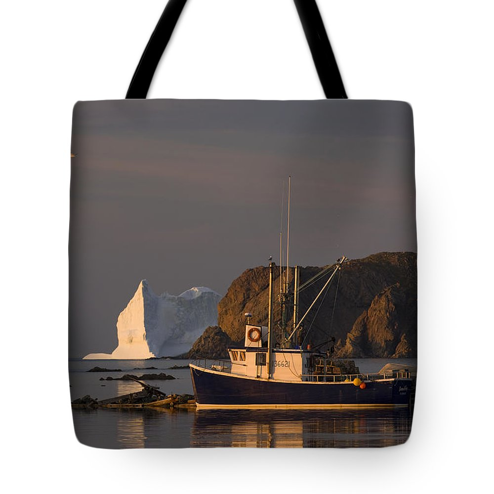 Color Images Tote Bag featuring the photograph Fishing Boat Near An Iceberg, Durrell by John Sylvester