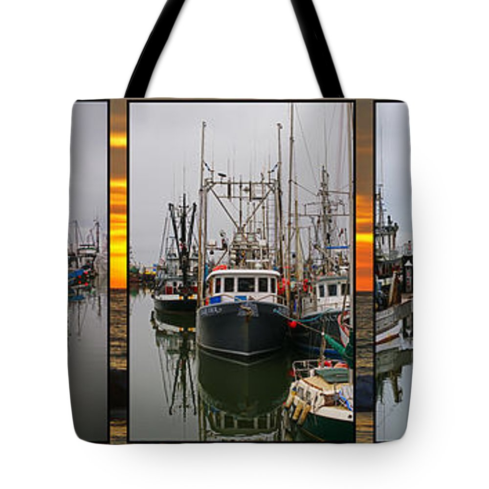 Fishing Boats Tote Bag featuring the photograph Fishing Boats In Steveston Group Photo by Randy Harris