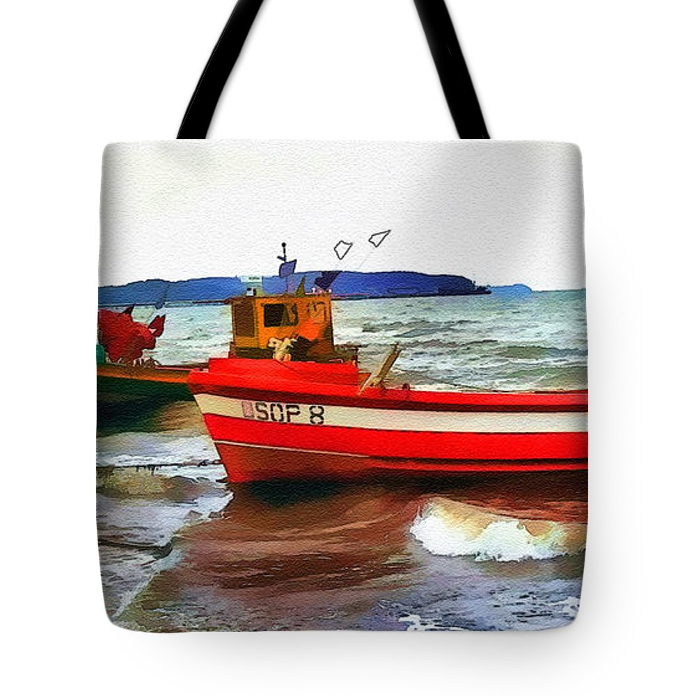 Boats Tote Bag featuring the digital art Fishing Boats by Tom Schmidt