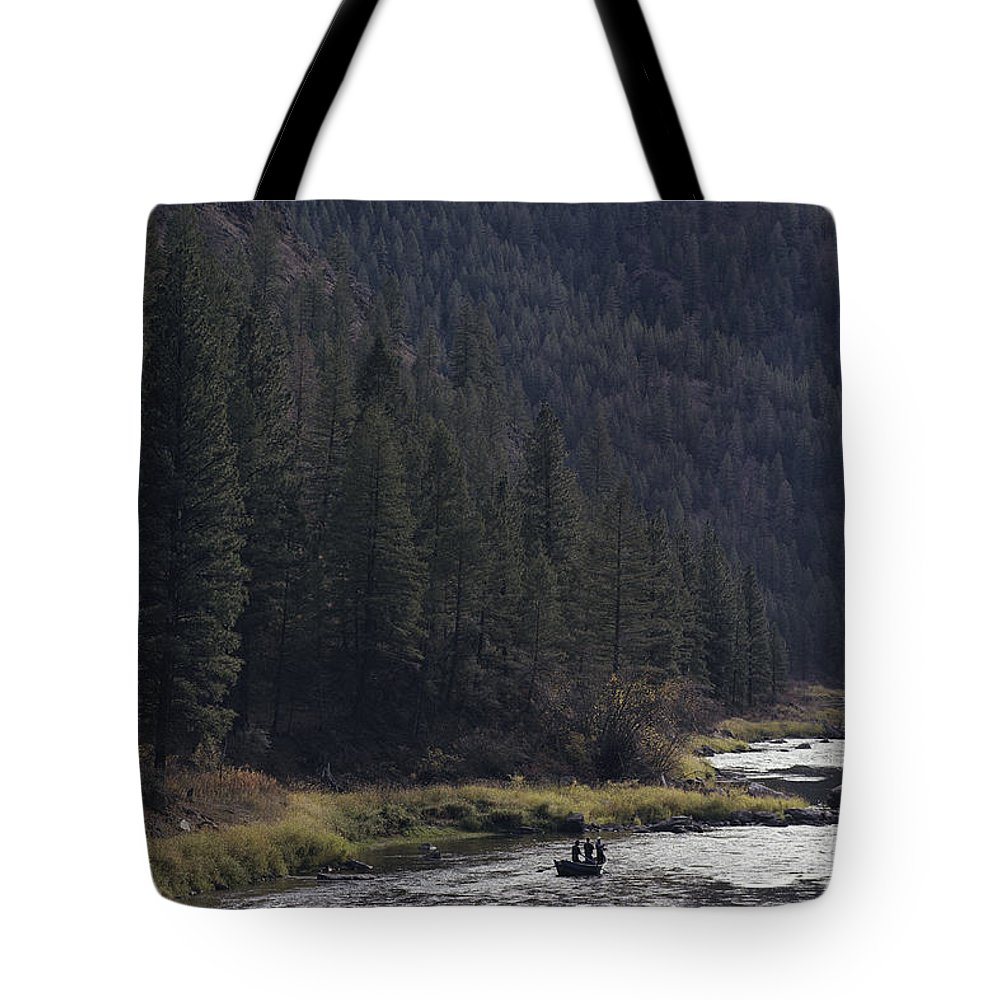Fishing And Fishermen Tote Bag featuring the photograph Fishing For Steelhead On The Salmon by Joel Sartore