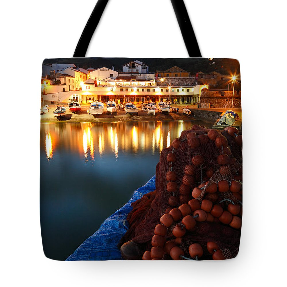 Harbour Tote Bag featuring the photograph Fishing Harbour At Dusk by Gaspar Avila
