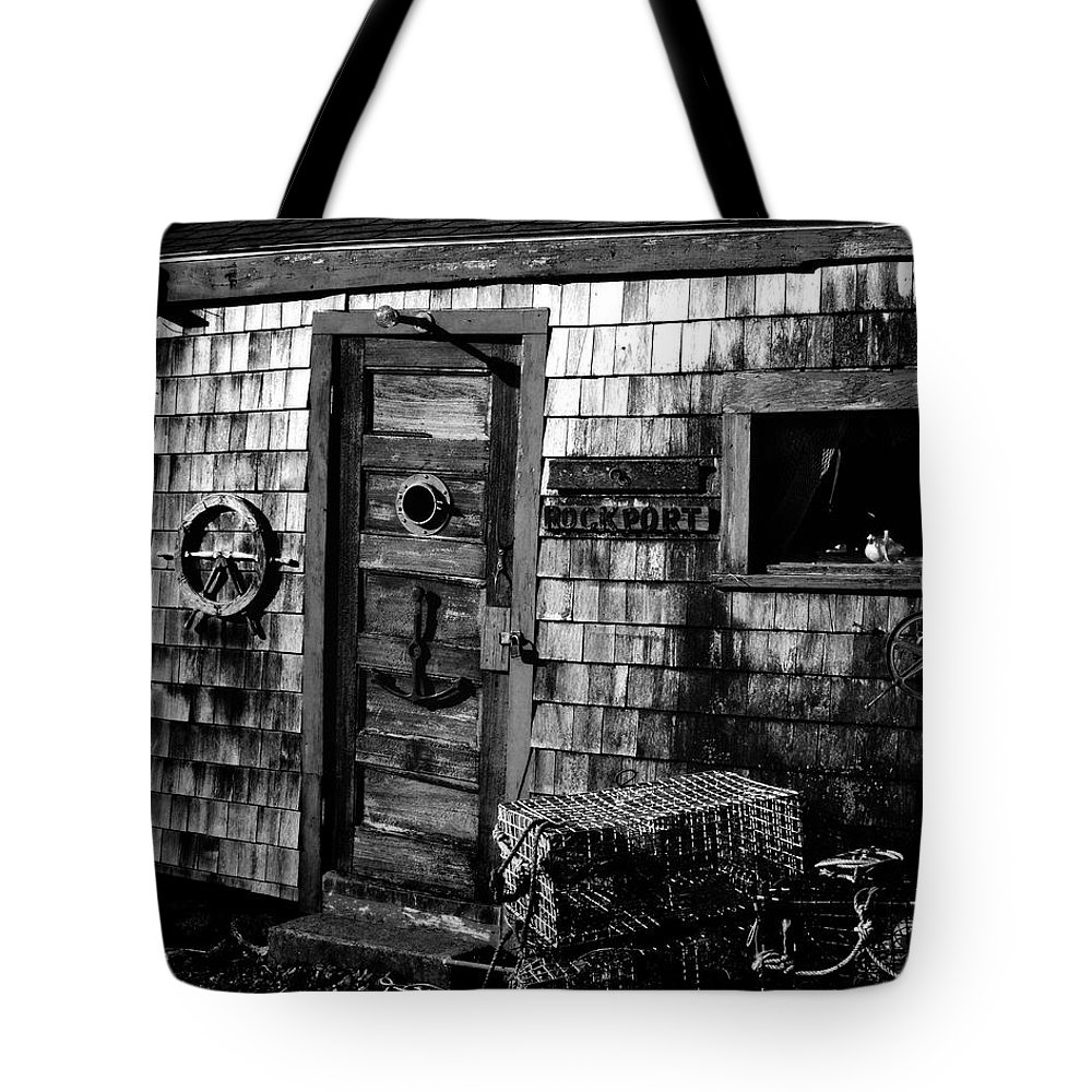 Rockport Tote Bag featuring the photograph Fishing Shack by Mark Valentine