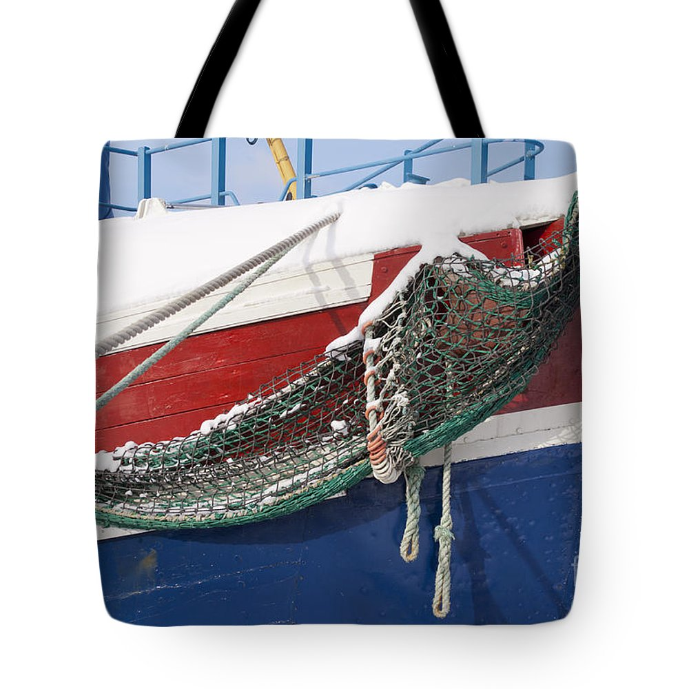 Ship Tote Bag featuring the photograph Fishing Vessel In Winter's Rest by Heiko Koehrer-Wagner