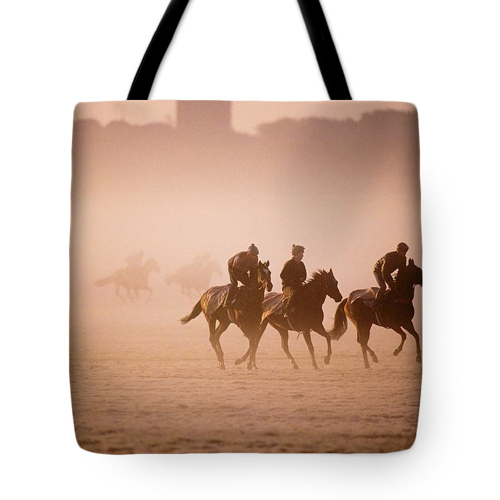 Adult Animal Tote Bag featuring the photograph Five People Riding Thoroughbred Horses by The Irish Image Collection