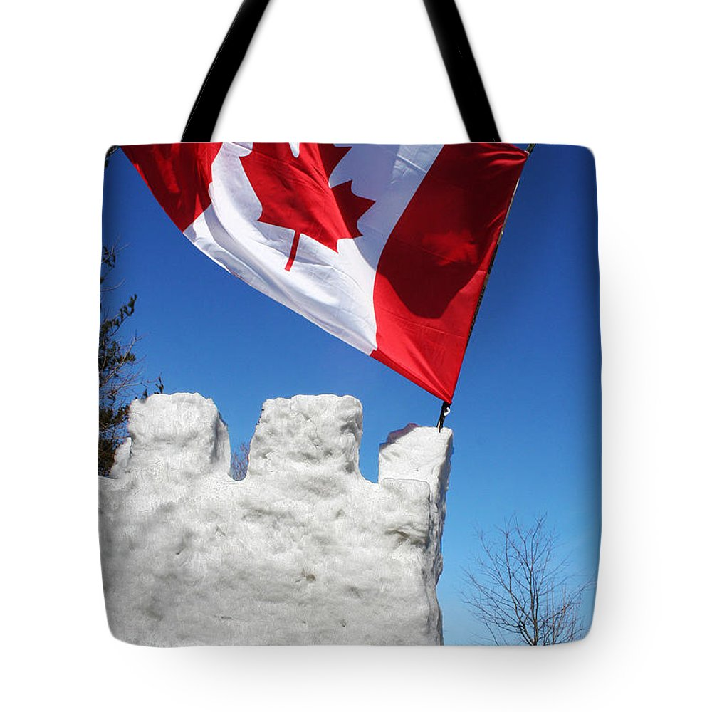 Canada Tote Bag featuring the photograph Flag On A Hockey Stick by Barbara McMahon