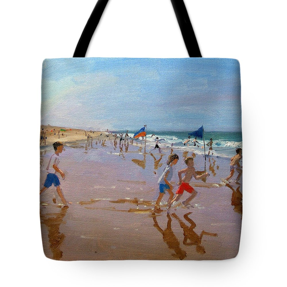 Seaside Tote Bag featuring the painting Flags And Reflections by Andrew Macara