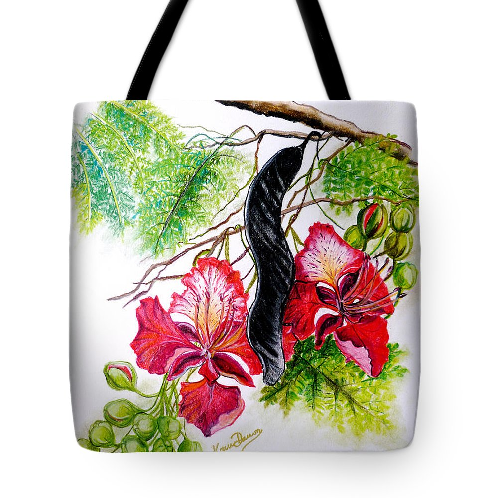Tropical Tote Bag featuring the pastel Flamboyant by Karin Dawn Kelshall- Best