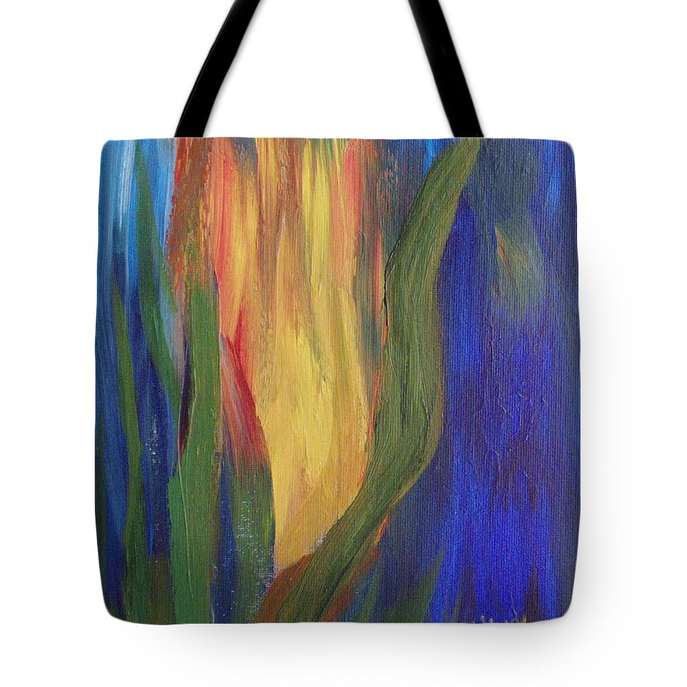 Abstract Tote Bag featuring the painting Flame by Peggy King