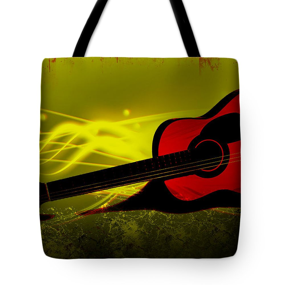 Music Tote Bag featuring the digital art Flaming Wood by Lj Lambert
