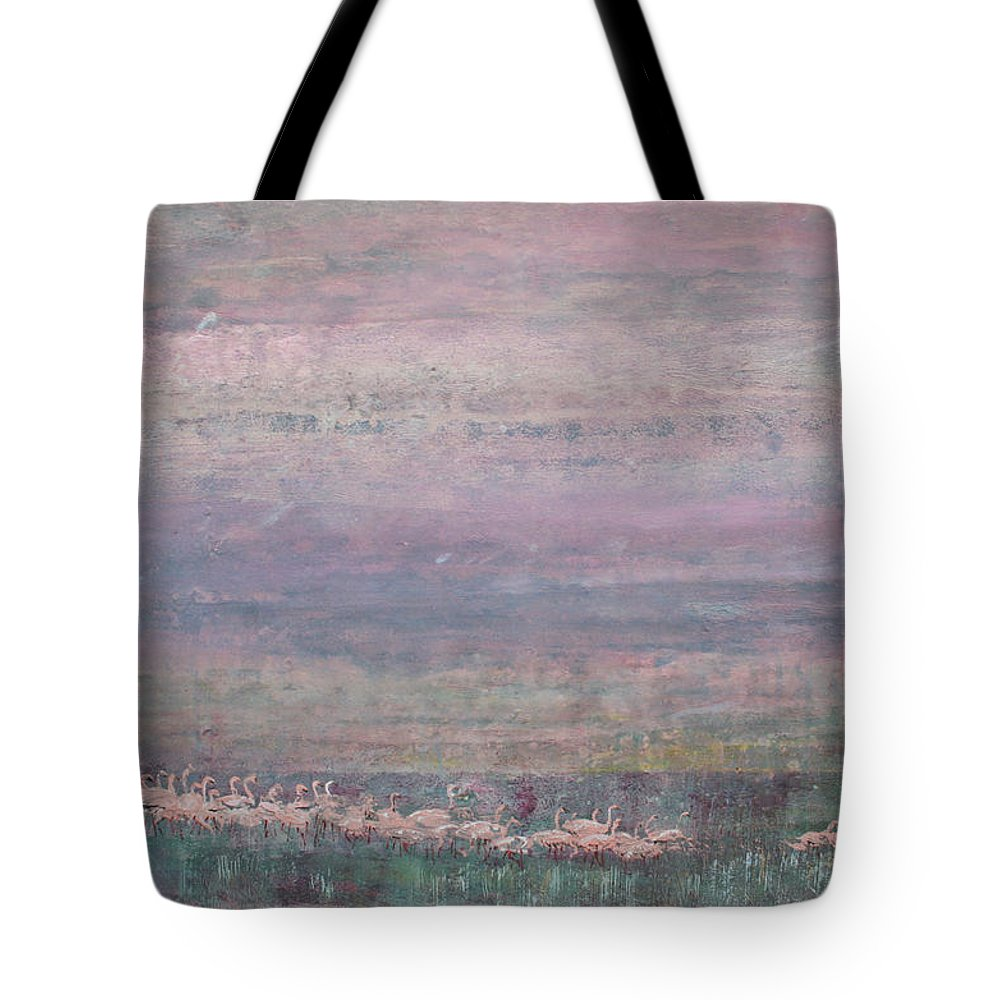 Flamingos Tote Bag featuring the painting Flamingo Dance 02 by Melanie Meyer