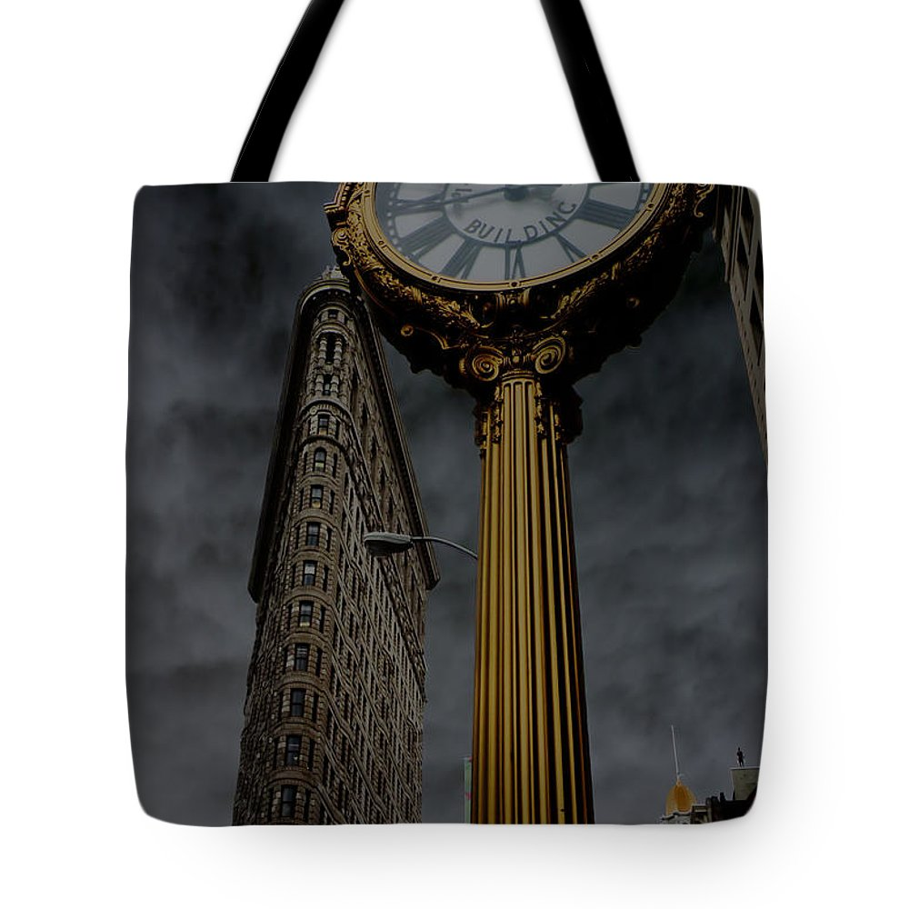 New York Tote Bag featuring the photograph Flatiron Building And Clock by Andrew Fare