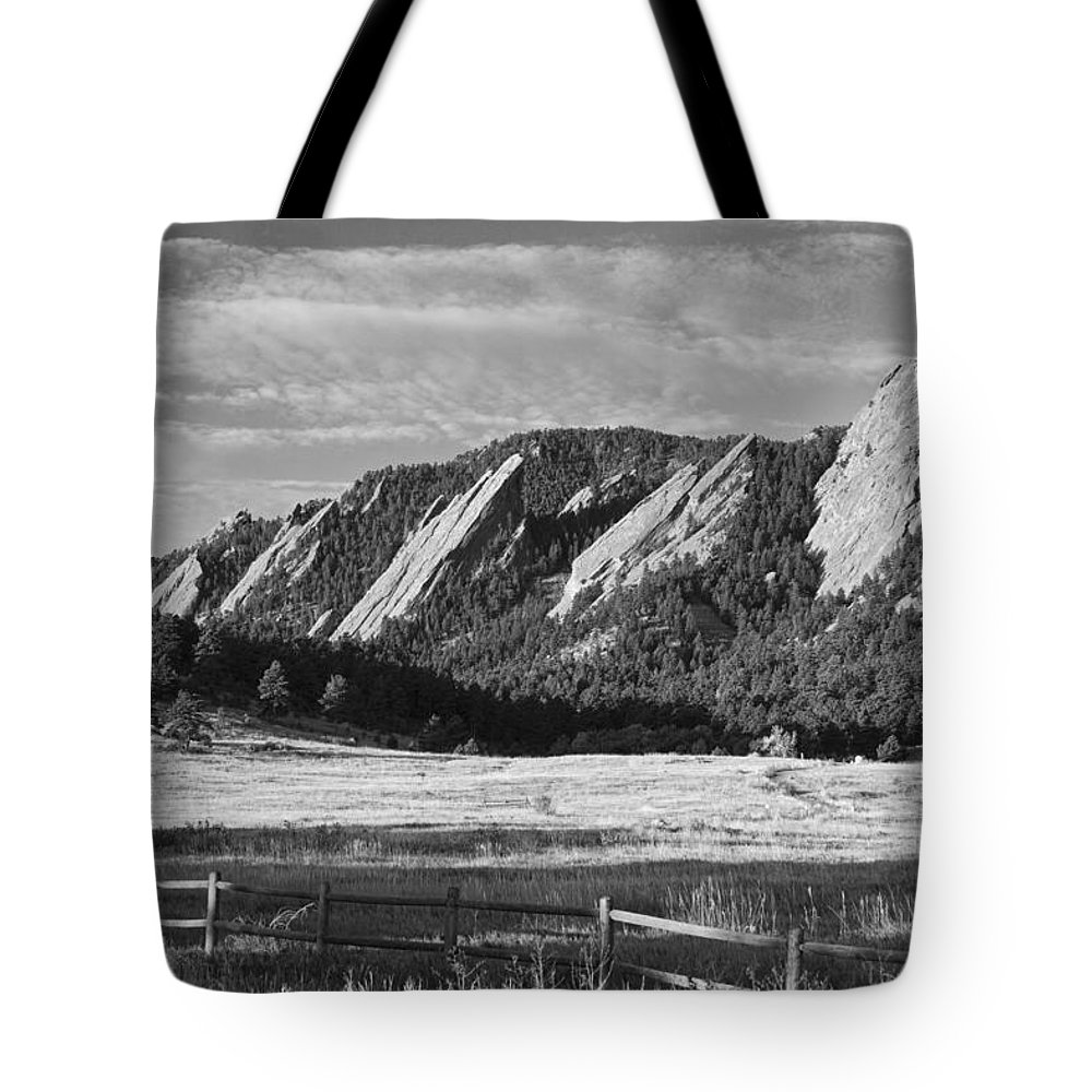Epic Tote Bag featuring the photograph Flatirons From Chautauqua Park Bw by James BO Insogna
