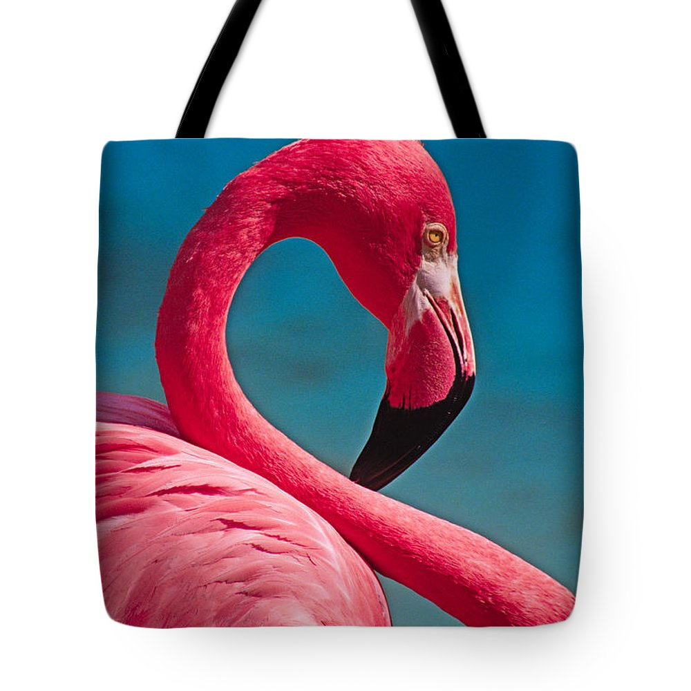 Flamingo Tote Bag featuring the photograph Flexible Flamingo by Michele Burgess