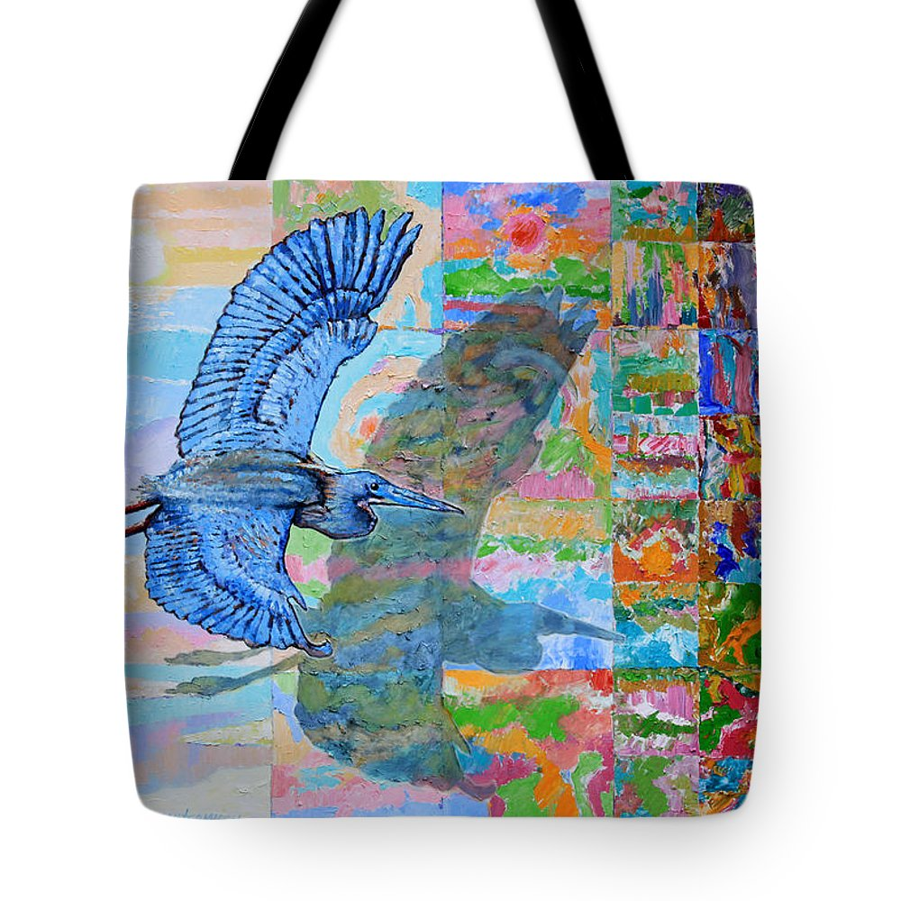 Blue Crane Tote Bag featuring the painting Flight Into Unconsiousness by John Lautermilch