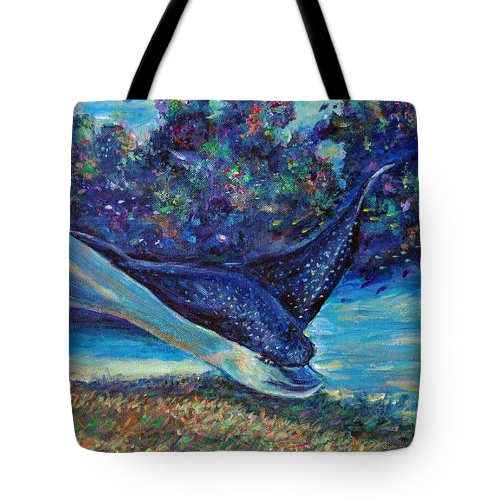 Spotted Eagle Ray Tote Bag featuring the painting Flight Of The Eagle by Li Newton