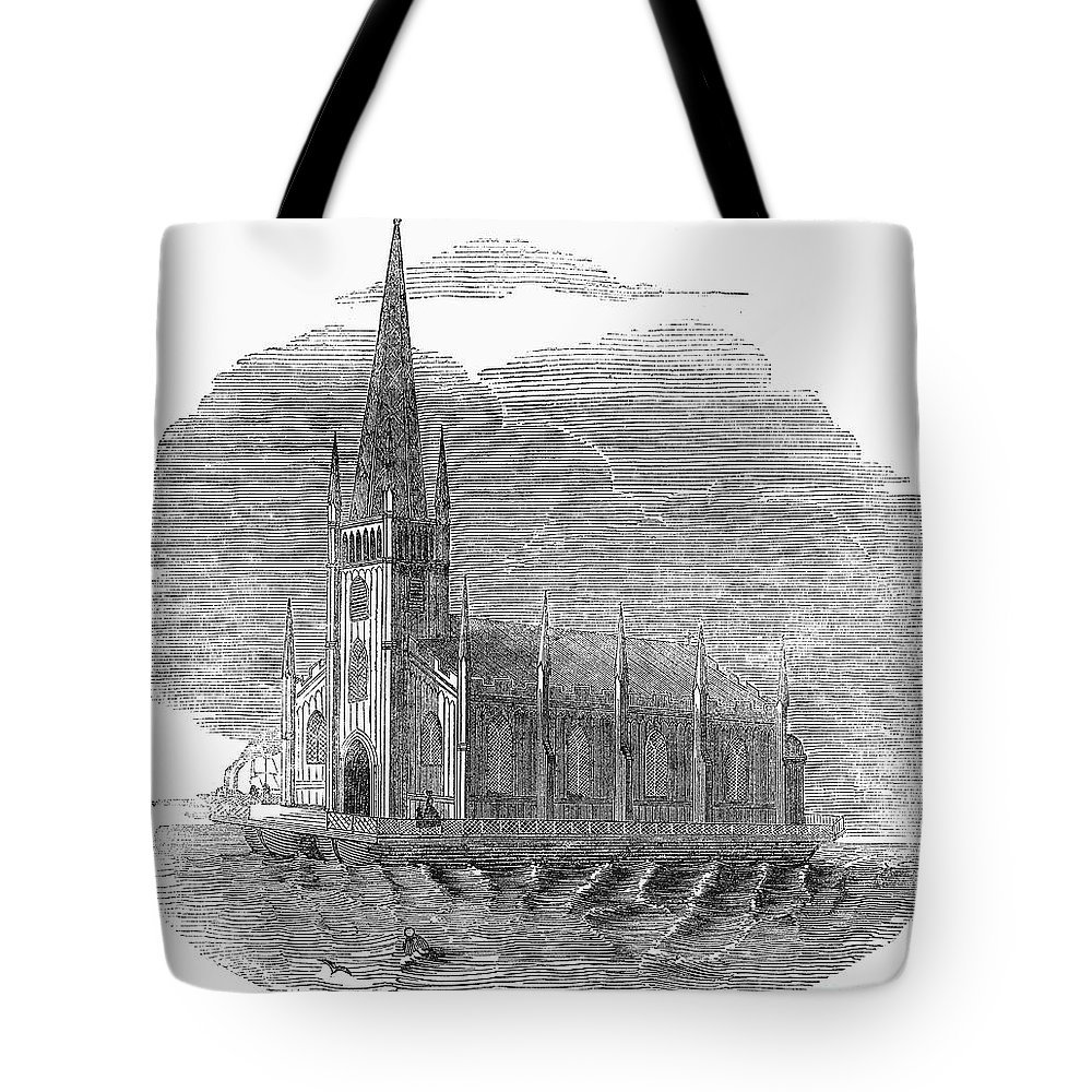 1849 Tote Bag featuring the photograph Floating Church, 1849 by Granger