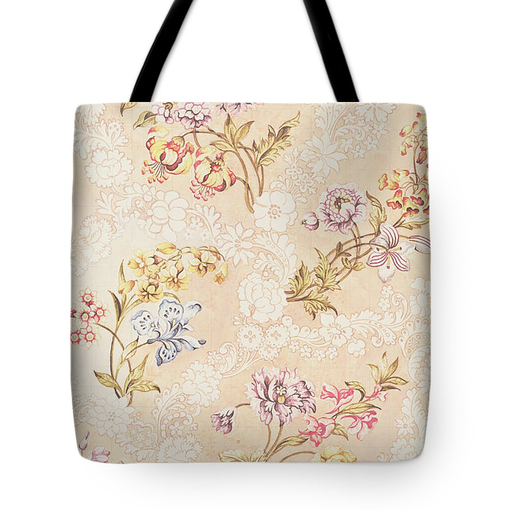 Garthwaite Tote Bag featuring the tapestry - textile Floral design with peonies lilies and roses by Anna Maria Garthwaite