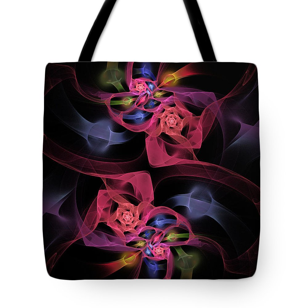 Fractal Tote Bag featuring the digital art Floral Rose Edgy Abstract by Andee Design