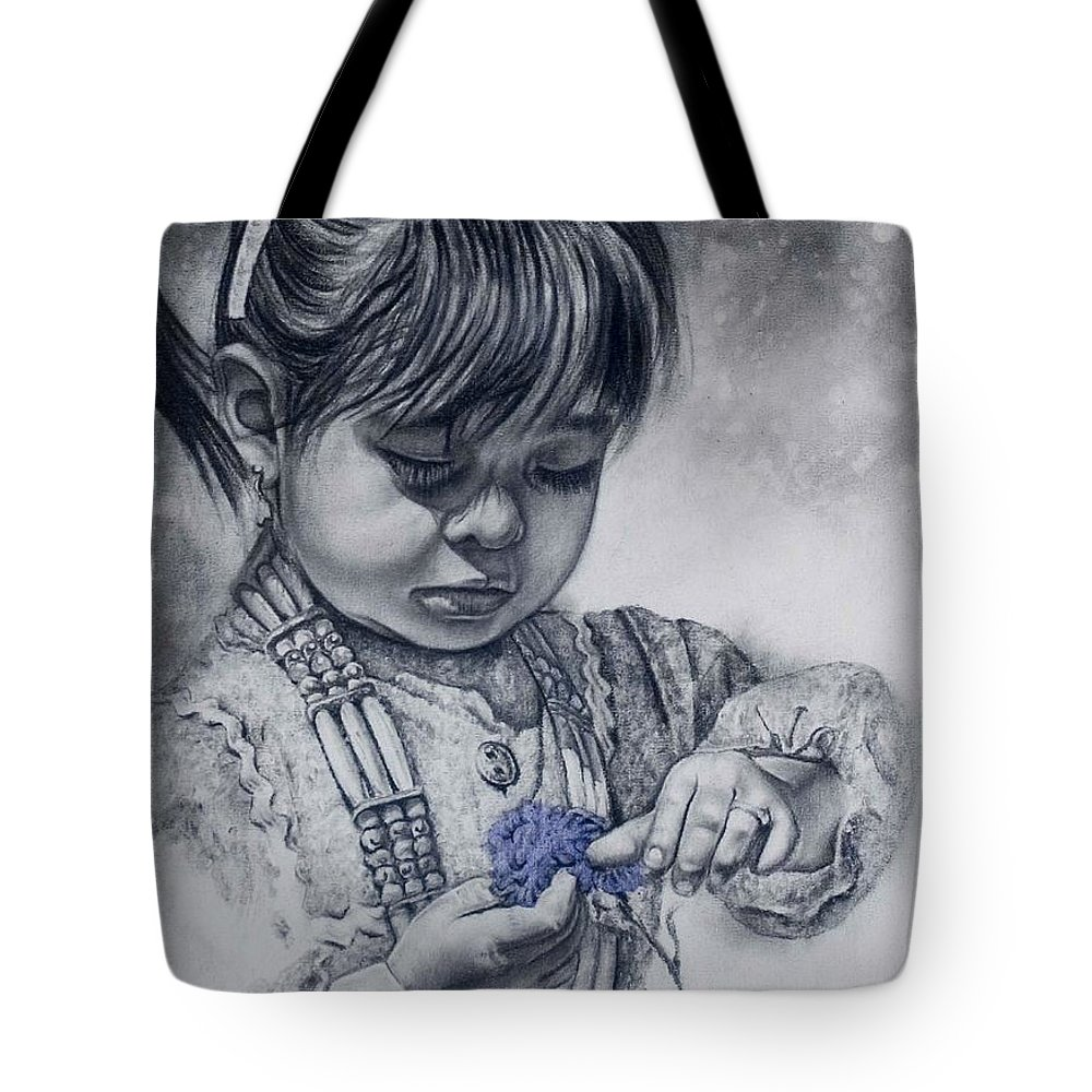 Indian Girl Tote Bag featuring the painting Flower Child by Virgil Stephens