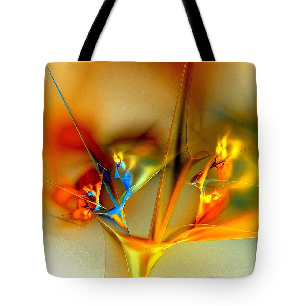 Yellow Flowers Tote Bag featuring the digital art Flower Composition by Klara Acel