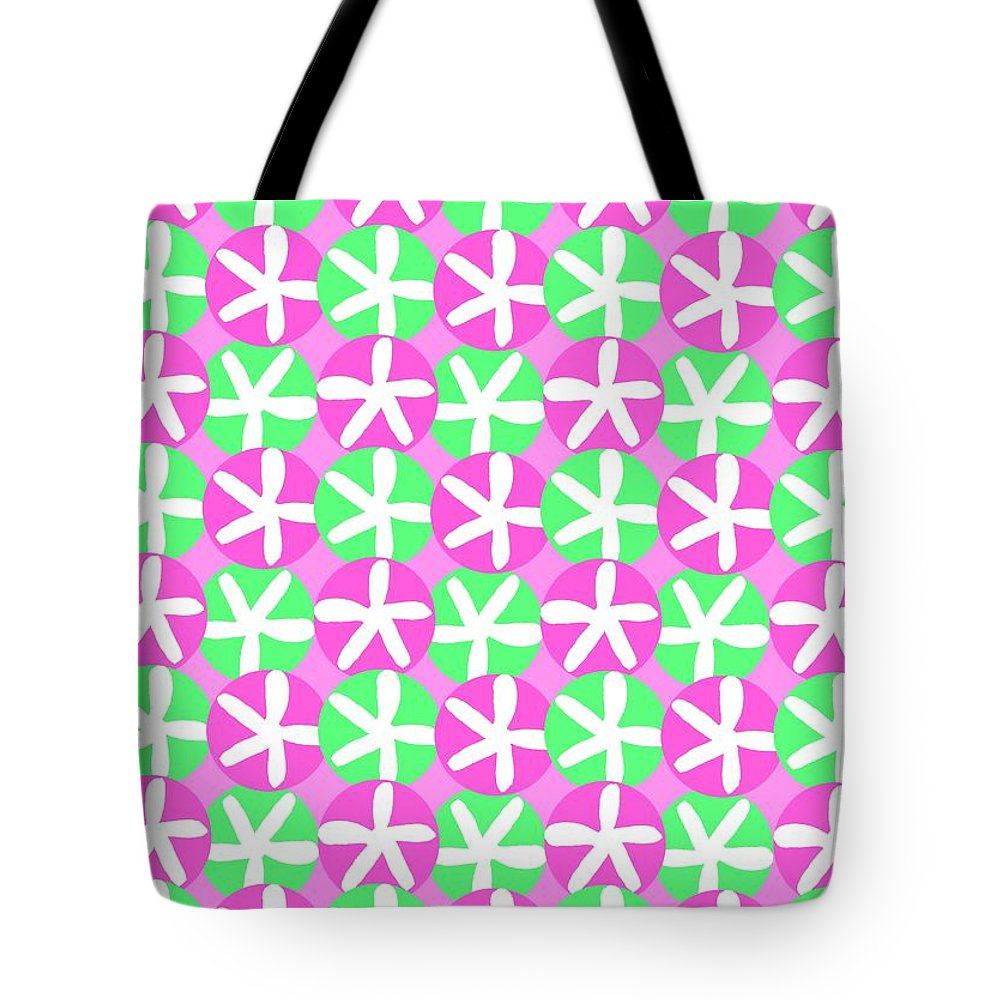 Flowers And Spots (digital) By Louisa Knight (contemporary Artist) Tote Bag featuring the digital art Flowers And Spots by Louisa Knight