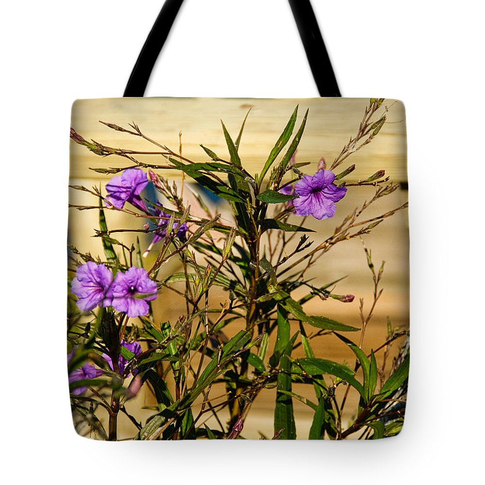 Purple Flowers Tote Bag featuring the photograph Flowers At The Dock by Cindy Tiefenbrunn