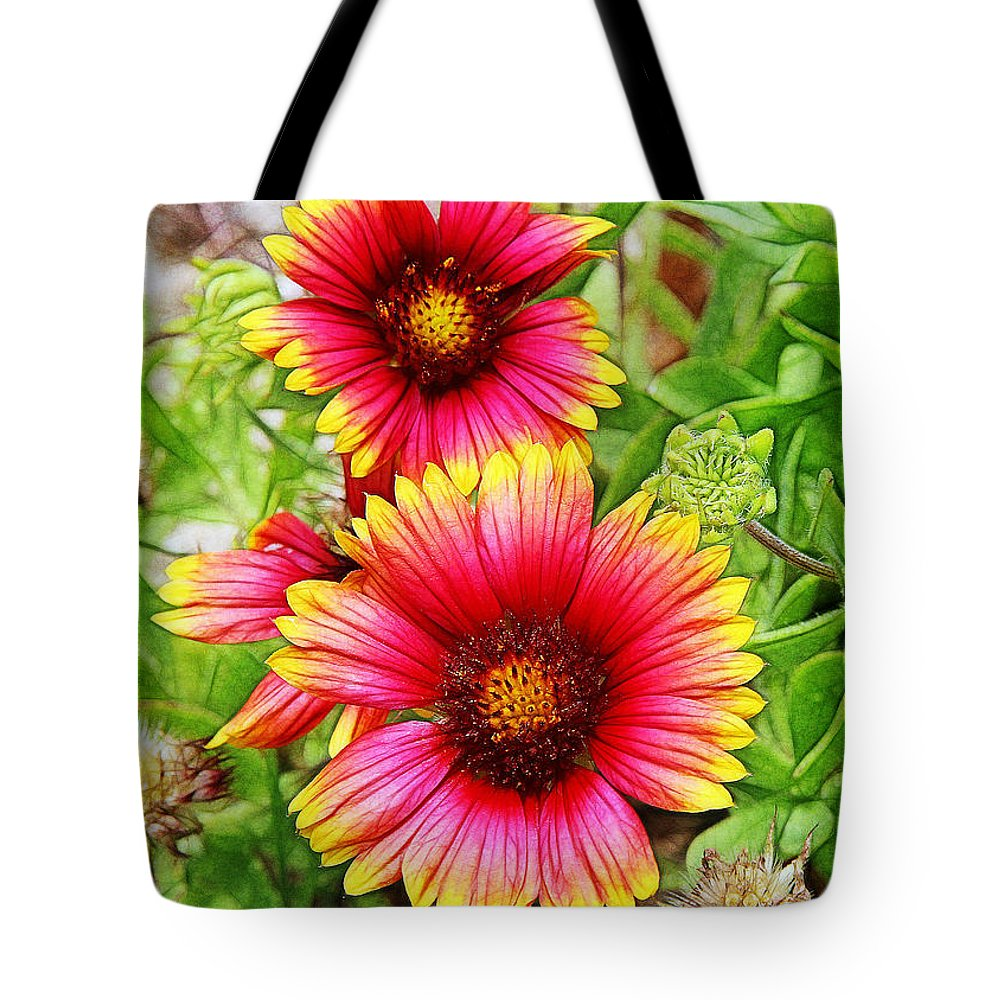 Flowers Tote Bag featuring the photograph Flowers On The Beach by Judi Bagwell